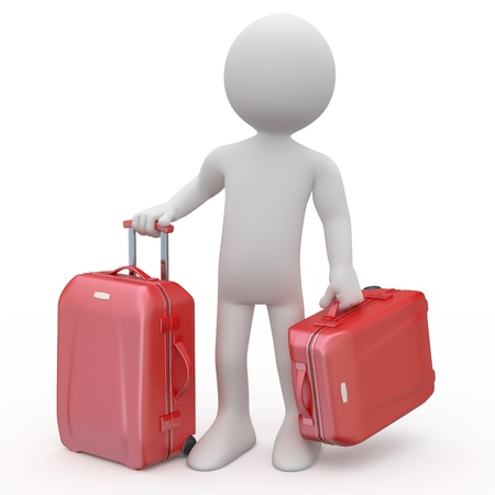 business traveler: Man stand waiting with two red trolleys suitcases Stock Photo
