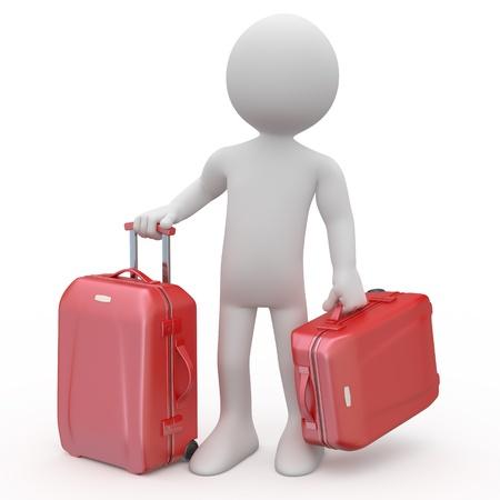 Travel Backpack: Stand de hombre espera con las maletas de dos carros rojo