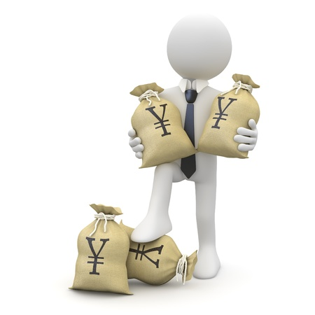 Businessman with bags of yenes photo