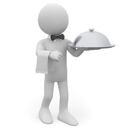 mesero: Camarero con una bandeja de plata en mano