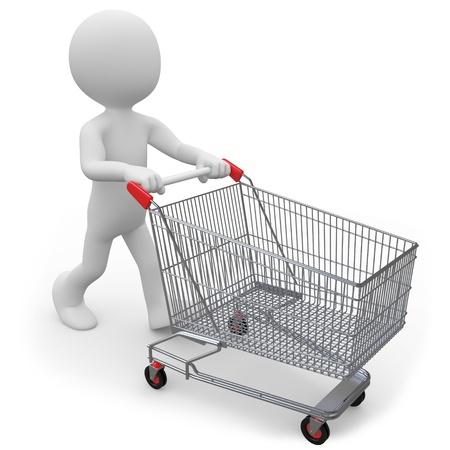pushing: Man duwen een winkelen Winkelwagen leeg Stockfoto
