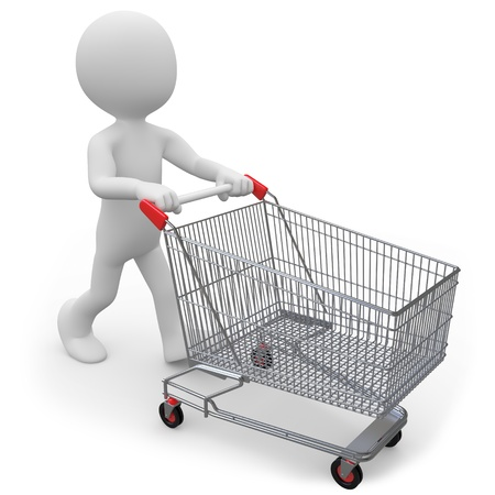 Man pushing a shopping cart empty photo