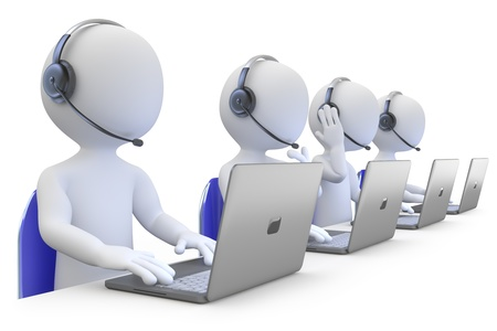 call center office: Employees working in a call center