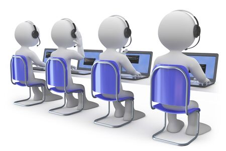 contact center: Employees working in a call center