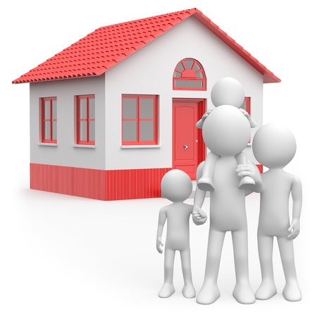 Happy family with their home behind Stock Photo - 9881151