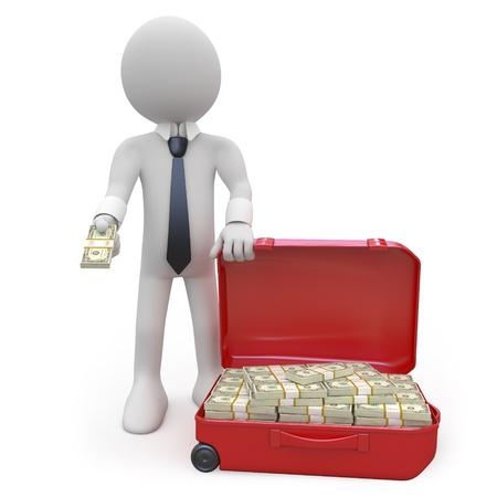 cash: Hombre de negocios con una maleta llena de fajos de dinero en efectivo