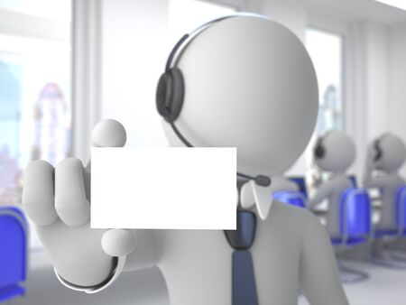 Call center operator with headphones and microphone showing a blank card Stock Photo - 9881150