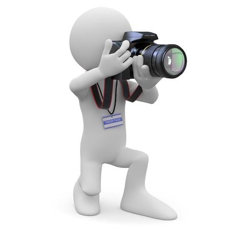photo camera: Fotografo in ginocchio con la sua macchina fotografica reflex