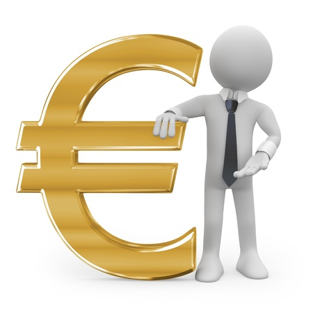 money euro: Business man leaning on the euro sign