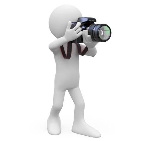 reportero: Hombre toma una fotografía con su cámara RÉFLEX