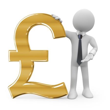 pounds money: Hombre de negocios, apoy�ndose en el signo de libra