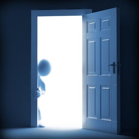 sortir: Homme consultant de l'autre c�t� de la porte