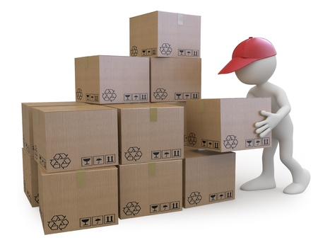 Stock boy stacking cardboard boxes photo
