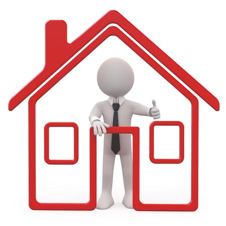 vendedor: Vendedor de casas con una casa esquemática