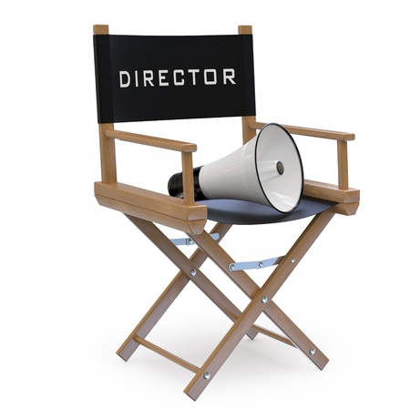 director chair: Chair with a megaphone Stock Photo