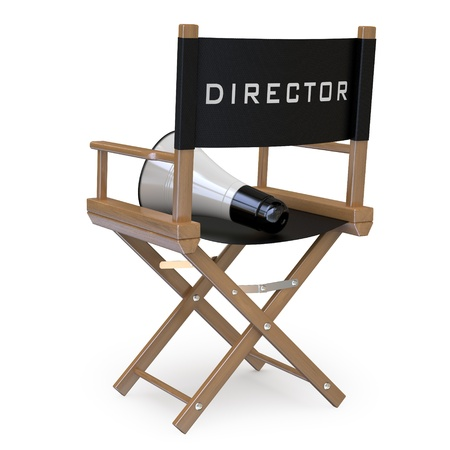 director chair: Film director chair with a megaphone back view