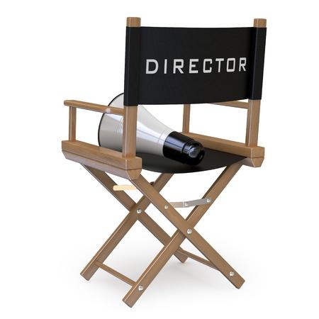 silla de madera: Silla de director de cine con un meg�fono de vista posterior Foto de archivo