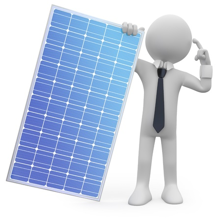 solar electric: Man holding a solar panel