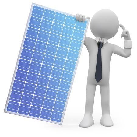 photovoltaic: Man holding a solar panel