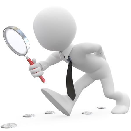 inspecting: Businessman with magnifying glass looking for coins