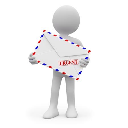 facteur: Homme avec une lettre urgente dans les mains
