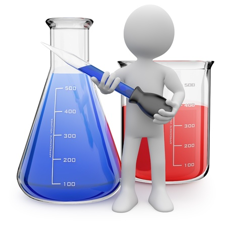chemist's: Chemist posing with test tubes Stock Photo