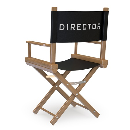 silla de madera: Silla de director de cine volver ver Foto de archivo