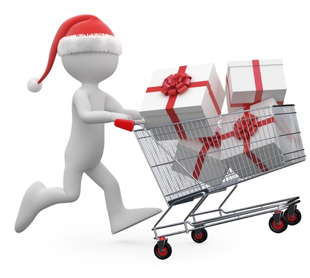 Man with Santa hat pushing a shopping cart full of gifts photo