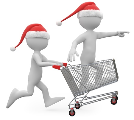 handcart: Man with Santa hat pushing a shopping cart with a man inside Stock Photo