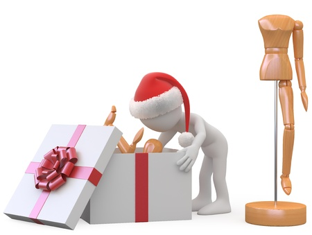 unpacking: Man with Santa hat taking out a wooden doll of a gift box