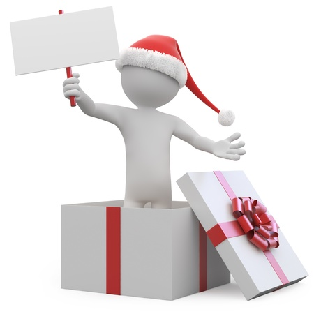 unpacking: Man with Santa hat and a blank card leaving a gift box