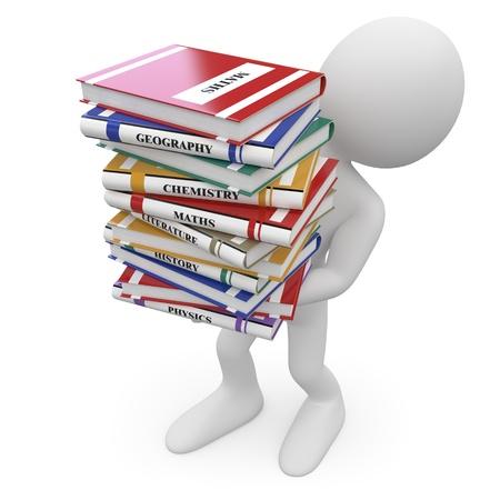 matematica: Estudiante con un mont�n de libros Foto de archivo