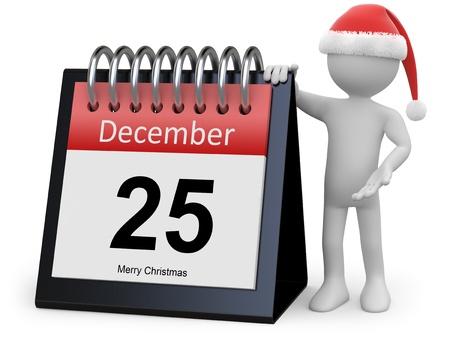datebook: Man with Santa hat leaning on a huge calendar