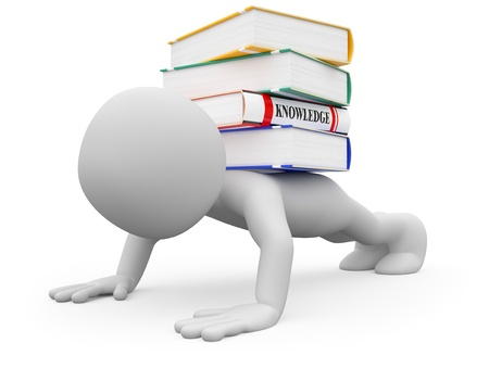Man doing push-ups with several books on the back Stock Photo - 10769612