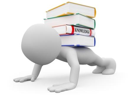 knowledge: Man tut Push-ups mit mehrere B�cher auf der R�ckseite