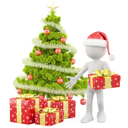 fir tree balls: Santa Claus with a Christmas tree and some red Christmas gifts