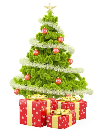 several: Christmas tree with several Christmas gifts