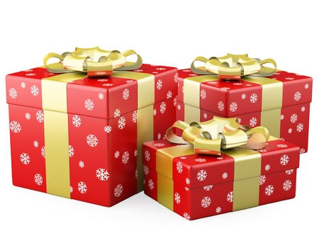 wrap wrapped: Three red Christmas gifts with a gold ribbon Stock Photo