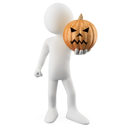 Man holding a Halloween Pumpkin photo
