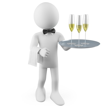 Waiter with a tray with three glasses of champagne Stock Photo - 10888471