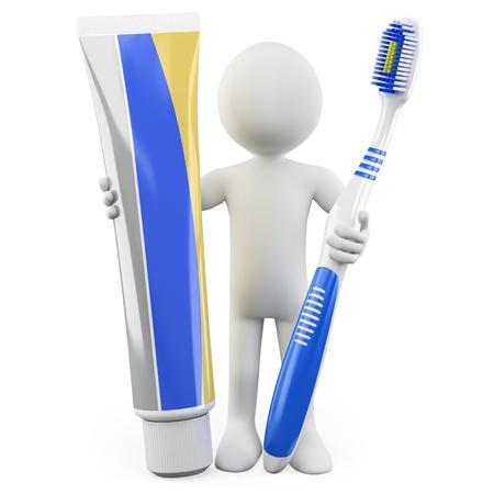 pasta dental: Dentista con un cepillo de dientes y pasta de dientes