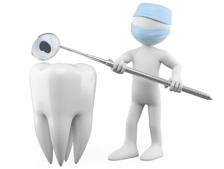 karies: Tandläkare som visar en hålighet med en mun spegel