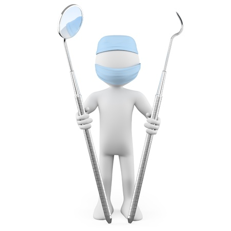 Dentist standing with mouth mirror and periodontal scaler Stock Photo - 10961337