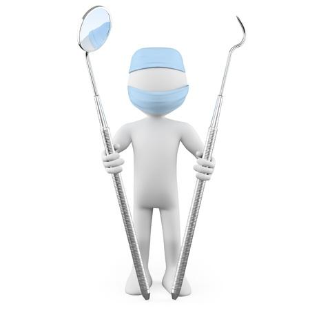denti: Dentista de pie con espejo bucal y periodontal escalador