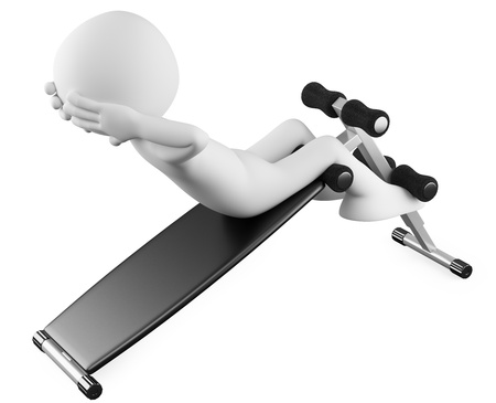 abs: Athlete in a sit-ups bench