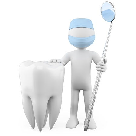 dental mirror: Dentist with a tooth and a mouth mirror