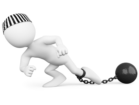 ball and chain: Prisoner dragging a heavy metal ball