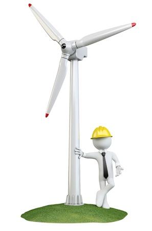 viento: Hombre apoyado en una turbina de viento Foto de archivo