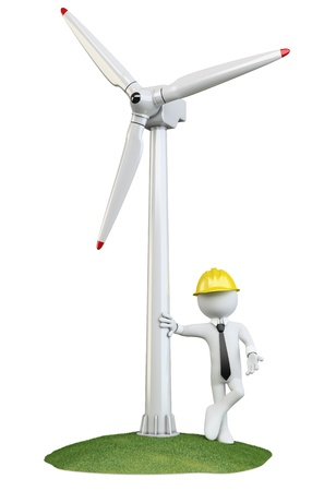 Man leaning on a wind turbine photo