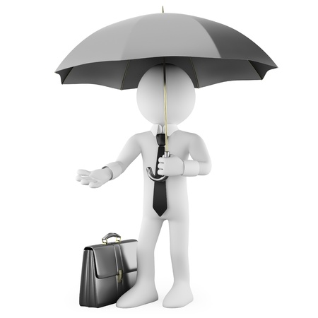 umbrella rain: Businessman with an umbrella and a briefcase